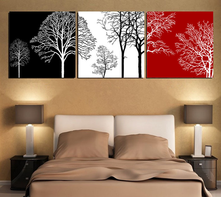 Free shipping black white and red tree modern wall art oil for Modern black and white wall art