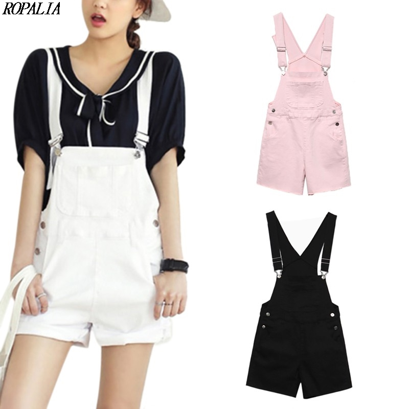 Casual Straps Denim Pockets Straps Shorts Sweet Style Women Shorts Casual Loose Overalls
