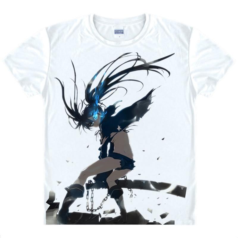 Black Rock Shooter-Mato Kuroi Anime Cartoon Print Basic Shirts Short Sleeve Shirt for Men