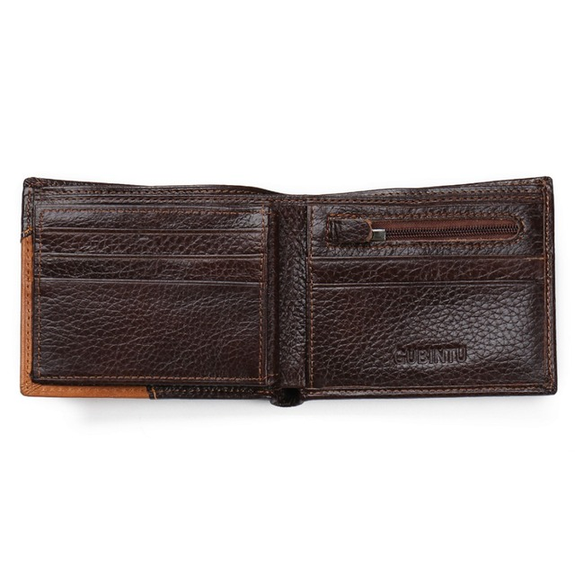 GUBINTU Genuine Leather Men Wallets Coin Pocket Zipper Real Men's Leather Wallet with Coin High Quality Male Purse cartera 2