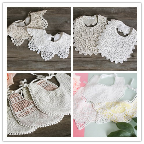 Mabeezo Wholesale 10 PCS Brand New 2018 Baby Girls 100% Cotton Lace Bibs Baby Burp Cloth ...