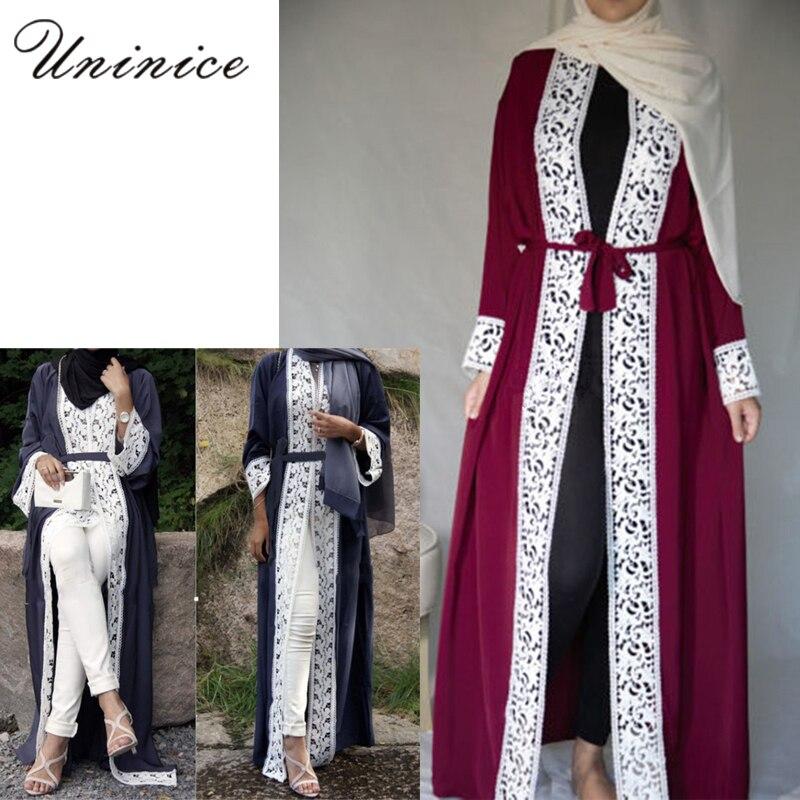 Elegant Muslim Abaya Dress Lace Cardigan Long Robes Kimono Jubah Ramadan Arabic Dubai Turkish Thobe Islamic