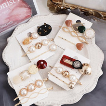 AHB 3pcs/set Pearl Women Hair Clips Set Cute Cat Pins Girls Korean Gold BB Barrettes Summer Jewelry Accessories