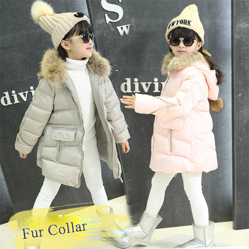 Kids Winter Coats Teenage Girls Outerwear Coats Parkas Children Down Jacket Warm Thick Fur Collar Hooded Zipper Cotton Clothes winter jacket female parkas hooded fur collar long down cotton jacket thicken warm cotton padded women coat plus size 3xl k450