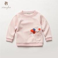 Simyke חולצת טי בנות ילדים סתיו 2017 חדש ילדה הקטנה של ילדי סווטשירט מזדמנים למעלה טי ילד בגדי ילד D0079