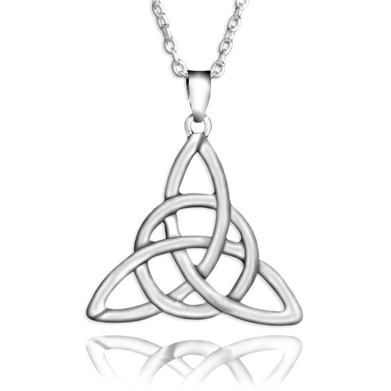 Fancy Braided Triangle Knot Pendant Necklaces Silver Chain
