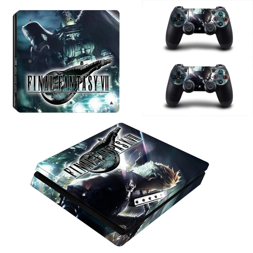 PS4 Slim Skin Sticker Final Fantasy VII Stickers PS 4 Slim Decal Cover For Sony Playstation 4 Slim Console and Controller image