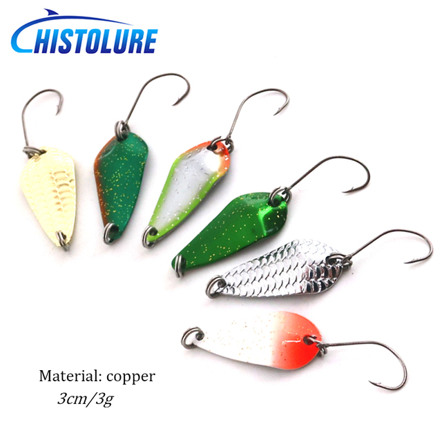 Cheap HISTOLURE 3g 3cm Trout Spoon Lure 6pcs/lot Metal Bait MOMO Fishing Lure  Freshwater Fishing Tackle Isca Artifici
