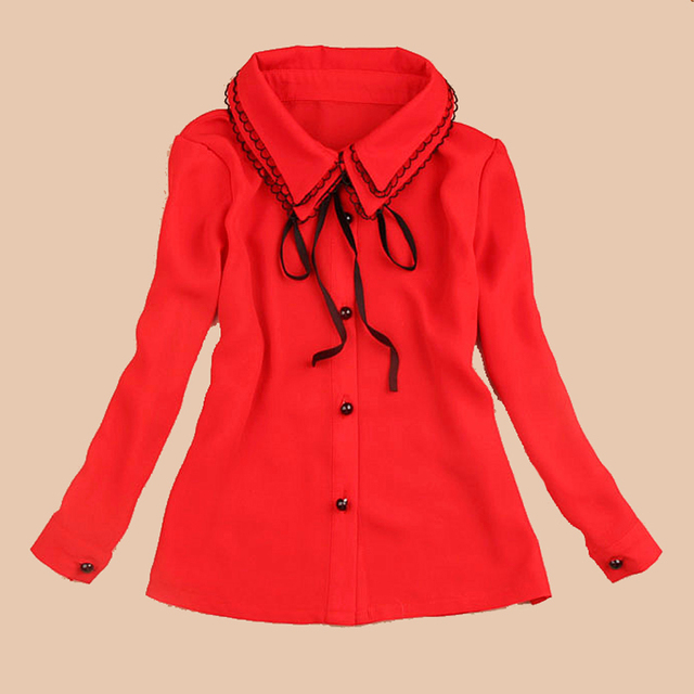 7cfa1e156b5f Children Chiffon Blouses For Girls Double Layered Turn Down Collar ...