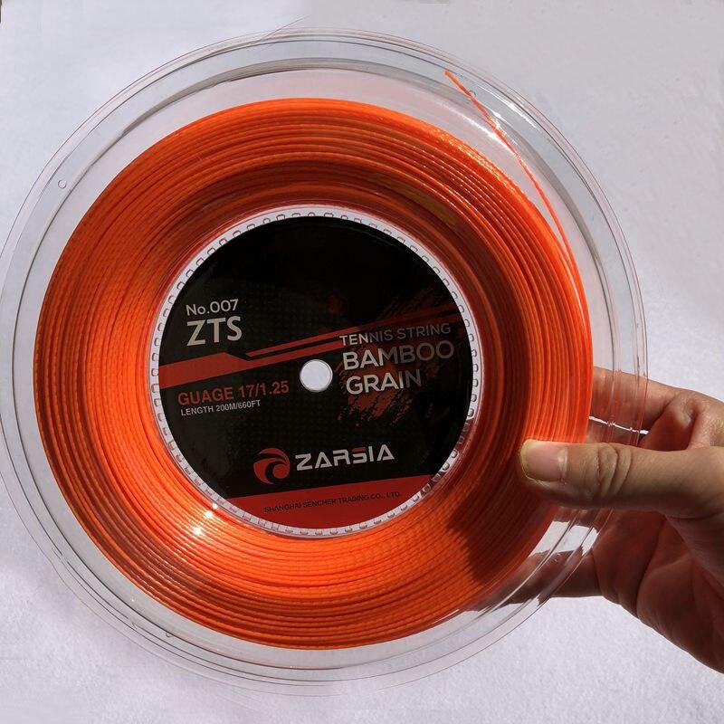 Livraison gratuite 1 bobine ZARSIA bambou grain raquette de Tennis chaîne Polyester Tennis entraînement puissance spin chaîne 1.25mm