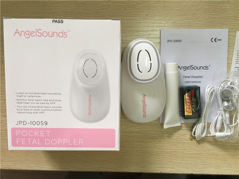 DHL Free shipping Angelsounds doppler Listen to the fetal heart sounds by itself or cellphone, Monitor fetal heart rate by APP