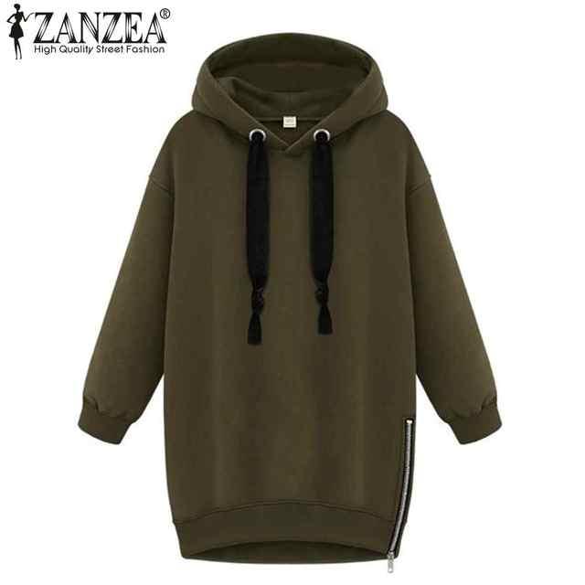 New Winter Autumn 2017 ZANZEA Womens Long Sleeve Hooded Jacket Loose Warm Hoodies Sweatshirt Plus Size Femininas 3 Colors