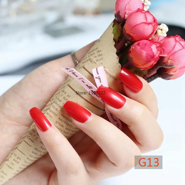 24pcs Fashion section candy color coffin shape nails, popular sales ...