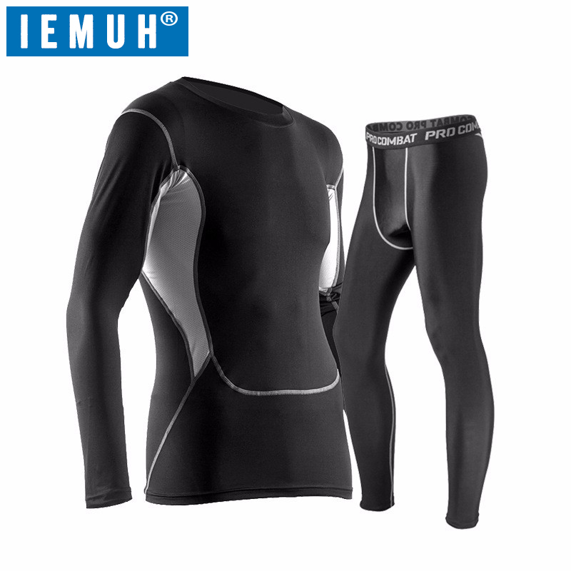 IEMUH New Mens Thermal Underwear Set Winter Warm Hot-Dry Technology Surface Elastic Force Long Johns Suit Compression lucky