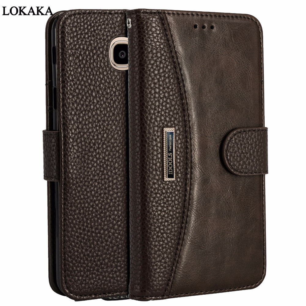 LOKAKA Leather Case For Samsung Galaxy J7 Max Wallet Flip Card Holder Stand 5.7 inch Phone Bags Cases For Samsung Galaxy J7 Max