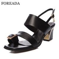 FOREADA Véritable Chaussures En Cuir Femmes Sandales Tongs Chunky Sandales À Talons Hauts Grande Taille 34-44 Cristal Chaussures de Soirée rouge Noir