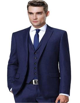 New Arrival Two Button Navy Blue Groom Tuxedos Groomsmen Men's Wedding Prom Suits Bridegroom (Jacket+Pants+Vest+Tie) K:721