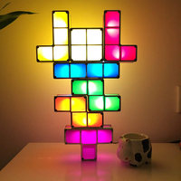 LED Tetris Puzzle Light USB Constructible DIY Night Light Home Bedroom Tabletop Decor Retro Game Party Wedding Xmas Decoration