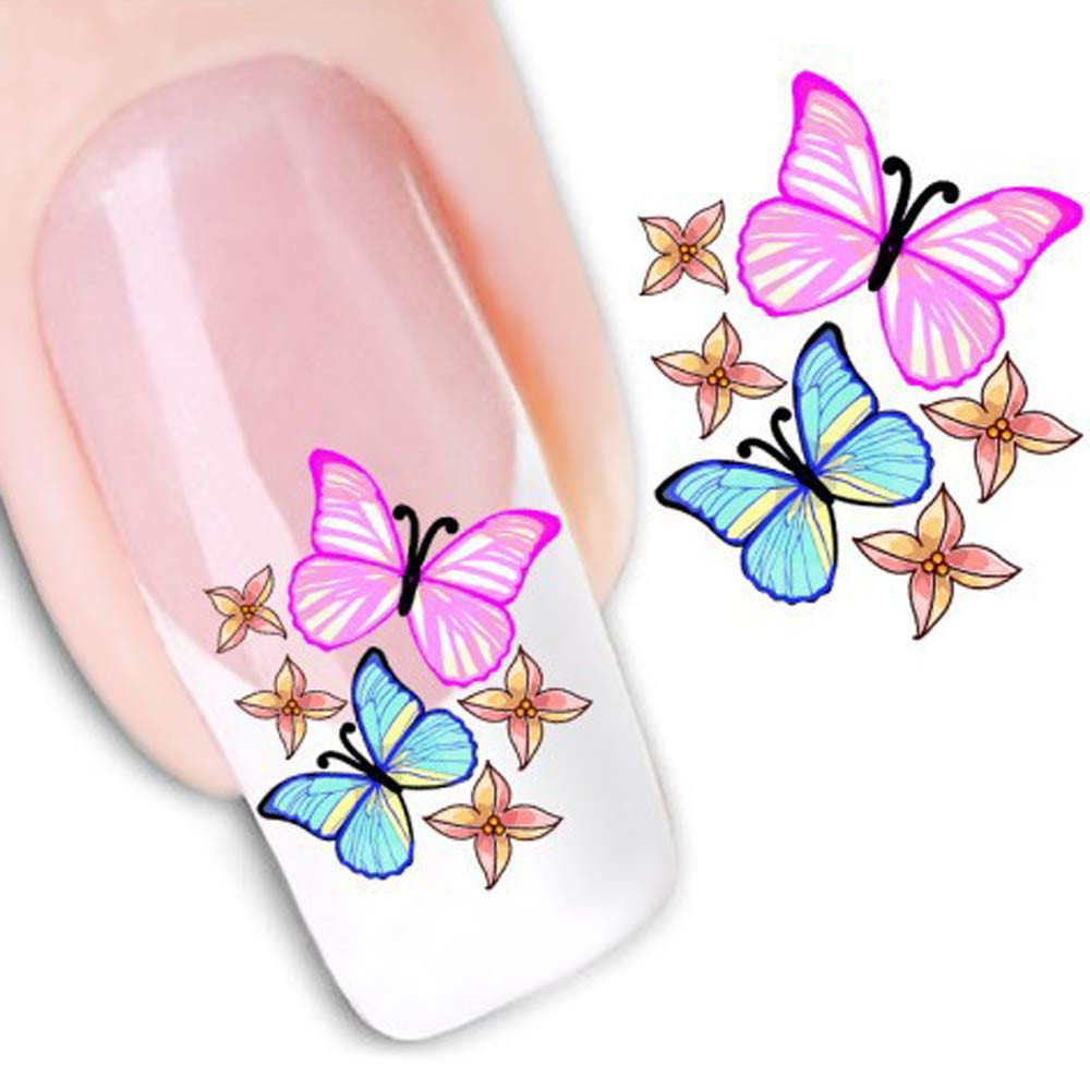 New 1pc DIY Cute Butterfly Nail Art Sticker Water Transfer Stickers Flower Decals Tips Fashion Popular JU2.  drop shipping 1pcs flower nail art decals new fashion