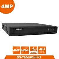 HIK оригинальный 4MP Turbo цифровой видеорегистратор HD DS 7204HQHI K1 4in1 видео Регистраторы для AHD CVI CVBS аналоговый tvi сигнал Камера