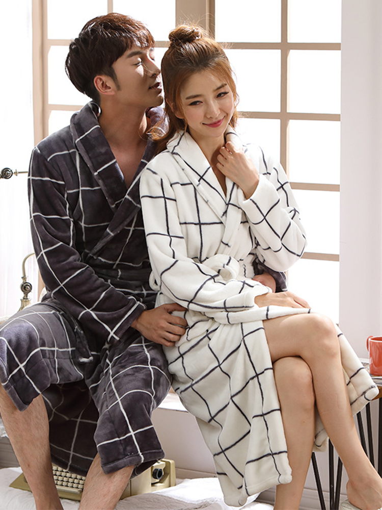 Women Men Flannel Bathrobe Sleepwear Autumn Winter Plaid Plush Couple Bath Robe Thick Warm Female Robe