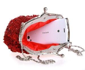 Image 5 - Granatowy damski zroszony cekinami wieczorowa torebka ślubna kopertówka wesele kosmetyczka torebka darmowa wysyłka 03162 G