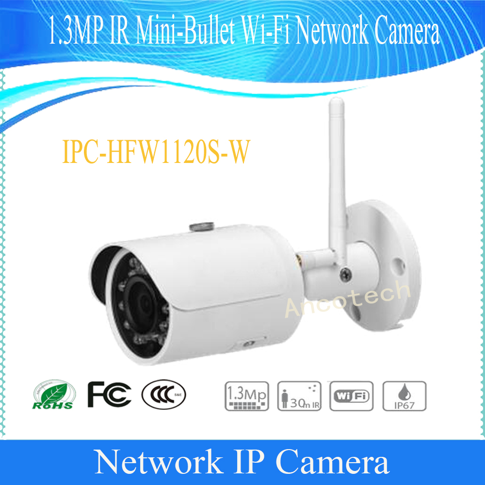 Free Shipping DAHUA WIFI Camera 1.3MP WIFI Small Fixed IR Bullet IP Camera IP67 with 30M IR Distance Without Logo IPC-HFW1120S-W free shipping dahua cctv camera 4k 8mp wdr ir mini bullet network camera ip67 with poe without logo ipc hfw4831e se