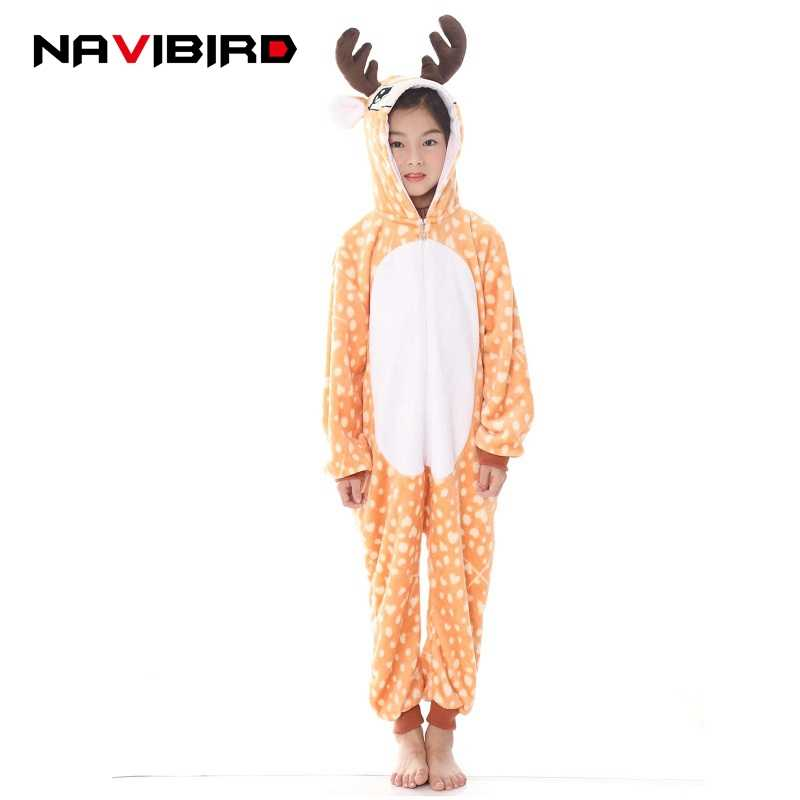 2ac6f2bd10 Children Winter Christmas Deer Kigurumi Flannel Unicorn Pajama Party Kids  Baby Pyjamas Animal Cosplay Costume Onesie
