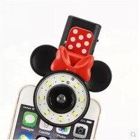 Mickey Minnie Luz de Relleno Led Linterna Auto Hacer Teléfono Autofoto Cámara Del Teléfono Flash LED Luz de Relleno Auto Artefacto Universales