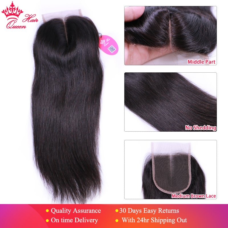 Queen Hair Products Brazilian Virgin Hair Closure 4x4 Middle Part Straight Natural Color 1B Swiss Lace Fast Free Shipping