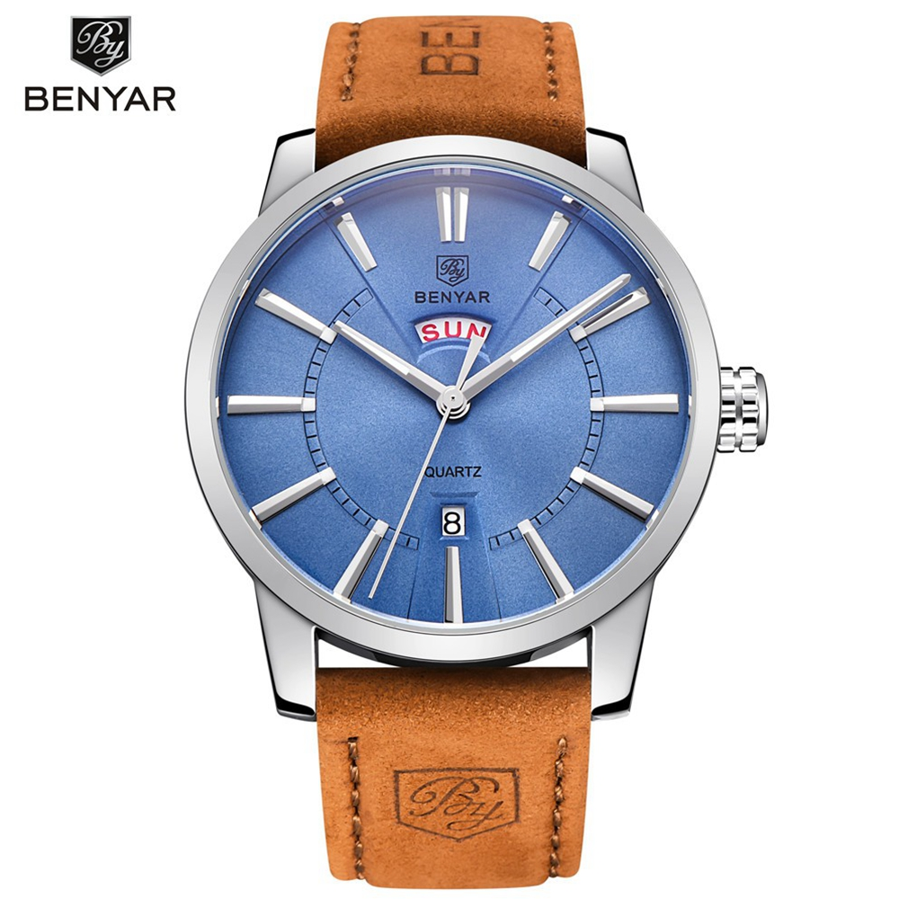 30M Waterproof Men's Fashion Casual Watch BENYAR Luxury Brand Men Leather Strap Double Calendar Quartz Watches Relogio Masculino high quality 30 m waterproof effort new men fashion luxury famous brand men s leather strap sports watch multi time zones