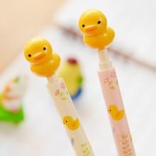 Fast Shipping 1pcs Creative Kawaii Little Yellow Duck Ballpen With Action Figure Ballpoint Pens For Kids Toys Gift