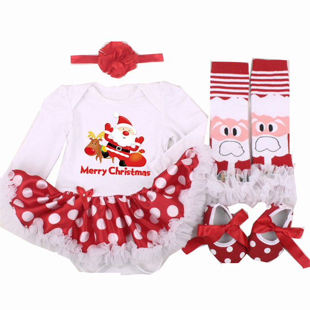 15a751016 Merry Christmas Baby Clothes Santa Claus Reindeer Bebe Girl Rompers Infant  4PCS Clothing Set Jumpuit Baby Birthday Paty Costumes