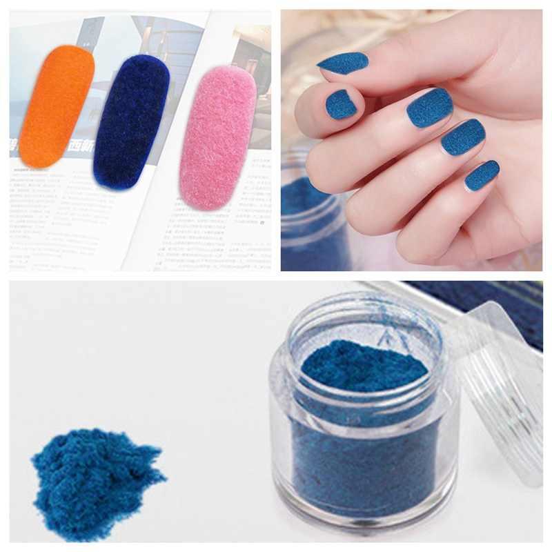 Nuevo 10 colores invierno flocado Navidad terciopelo uñas brillo polvo colorido para manicura DIY uñas Consejos decoraciones