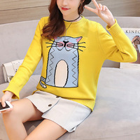2017 New Female Cartoon Cat Sweater Casual Loose Lipped Long Sleeved Knit Pullover 6 Colors