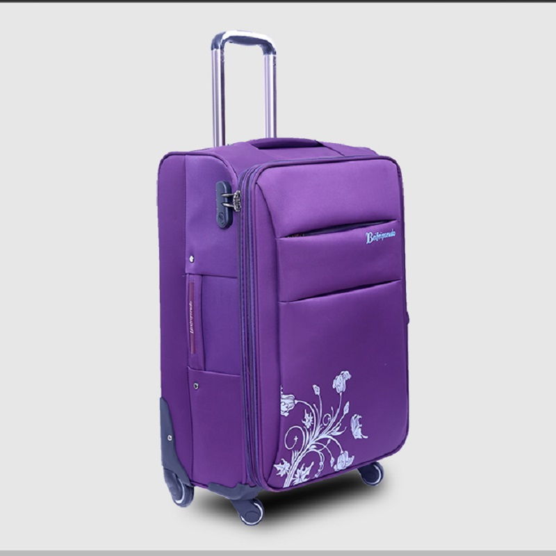 Universal wheels trolley luggage 20 inches luggage oxford fabric luggage cloth box soft box red purple brown black flower print cup striped print fabric table cloth