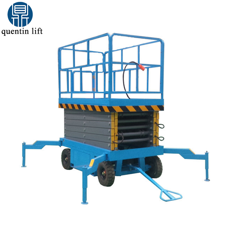 10m manual pulling scissor lift for aerial work scissor lift