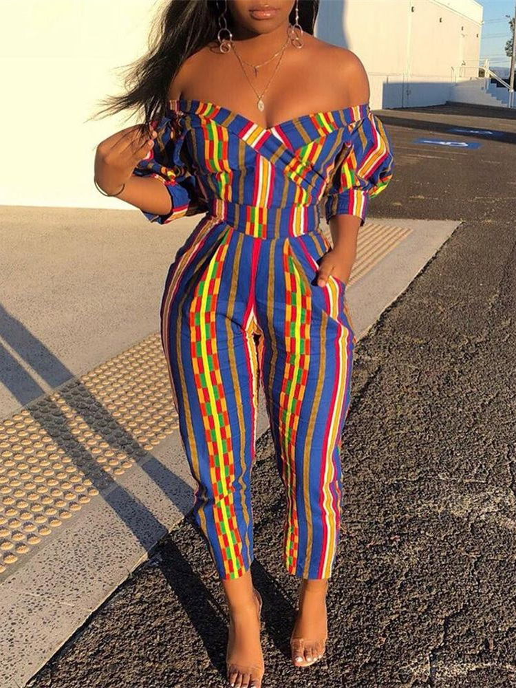 2019 Autumn Women Elegant Vacation Leisure Romper Female Overalls Off Shoulder Casual Colorful Striped Puffed Sleeve Jumpsuit