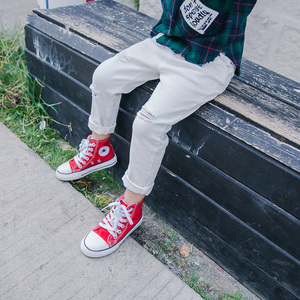Image 2 - Jeans for Boy Red Spring Autumn Casual Kids Torn Black Pants Boys Cotton Ripped Hole Trousers Children Clothes 2 4 6 8 10 Years