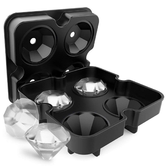 4 Cavity Diamond Shape 3D Ice Cube Mold Maker Sphere Silicone Ice Cube Tray Cookie Soap Chocolate Mould Fondant Baking Tools