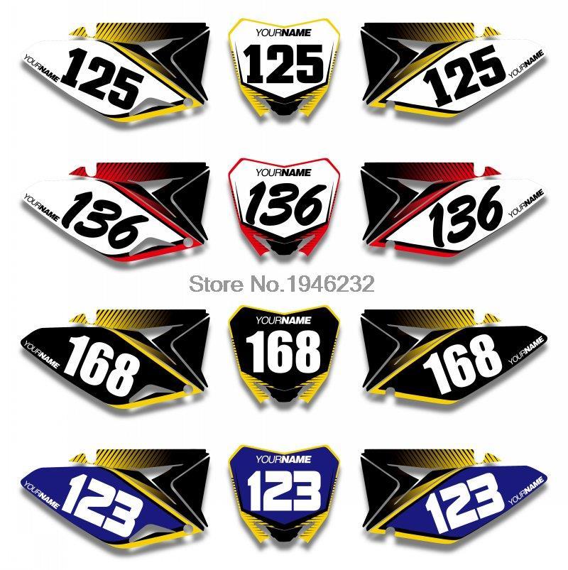 H2CNC Custom Number Plate Background Graphics Sticker & Decal For Suzuki RMZ250 RM Z250 2010 2016 2012 2014 RMZ RM Z 250