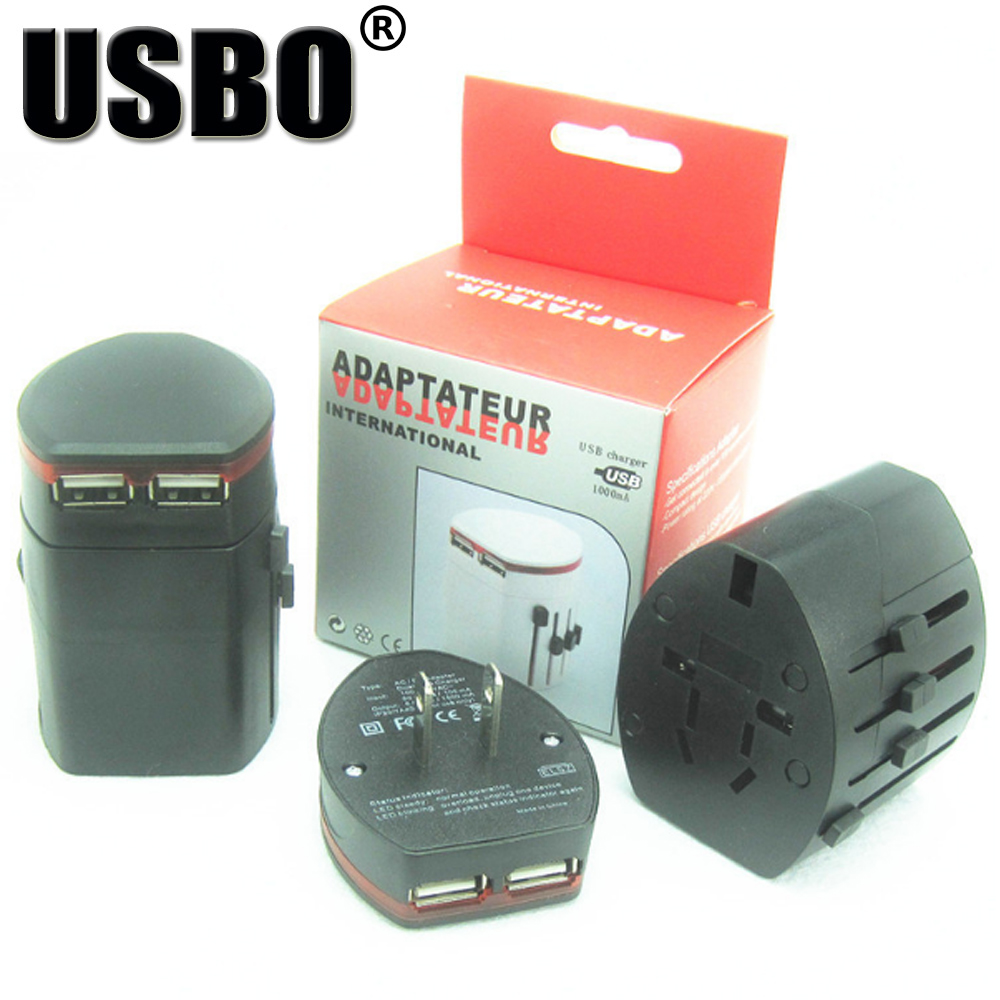 New Universal International Plug Adapter 2 USB World Travel AC Power FUSED Wall Charger Adaptor for iphone MP3 MP4 camera