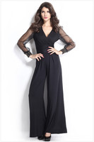 2014 New Fashion Sexy Women Jumpsuit Black Embellished Lantern Sleeve Cuffs Long Mesh Sleeves Jumpsuit LC6650