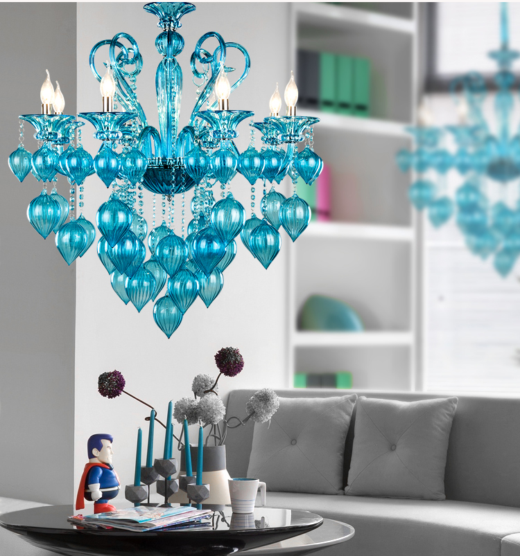 italy murano glass chandeliers light modern chandeliers light creative art bule purple glass chandelier light free - Turquoise Chandelier Light