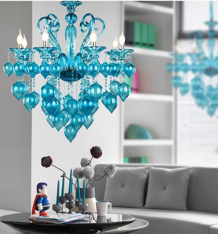 Italy Murano Glass Chandeliers Light Modern Chandeliers Light Creative Art Bule Purple Glass chandelier Light Free shipping
