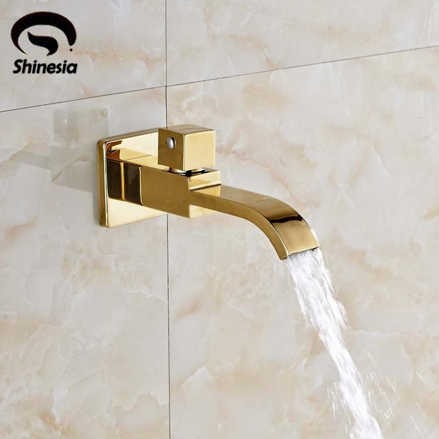 Spout Gold Brass Wall Mounted Bathroom Tub Spout Pool Faucet Tapin - Gold brass bathroom fixtures