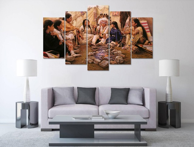 5 Panel Large HD Printed Canvas Oil Painting Indian Canvas