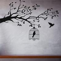 Enjaulado Pássaro Ramo de Árvore Adesivos de Parede Decalque Da Parede Do Vinil Animais e Pássaros Adesivos de Parede Deixa Pássaro Livre Decor Quartos Mural