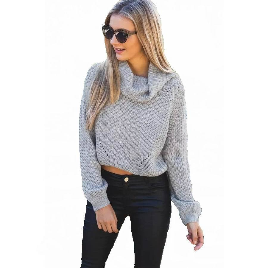 Women knitted sweaters and pullovers Short Crop Tops Casual Style ...