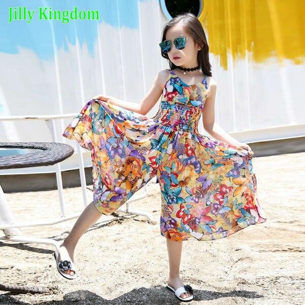 cd89f9e056328 الصيف 2018 الاطفال فساتين للبنات أزياء الفتيات فساتين الأزهار البوهيمي فتاة  فستان الأميرة الجدة الاطفال ملابس
